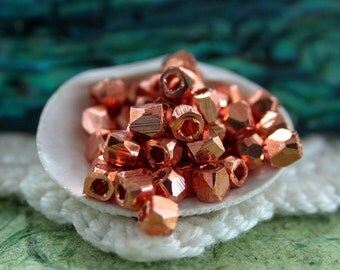 Copper Beads, Copper Plated Brass Beads, Metal Beads, Large Hole Small Metal Beads, Spacer Beads, Diamond Cut Beads  MB-033-50