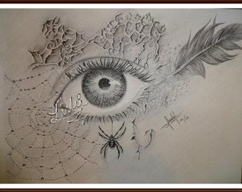 eye drawing, original, pencil, spider
