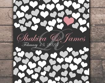 Medium Wedding Guest Book | BRIDAL GIFT POSTER | 84 Guest Sign In 16x20 | Wedding Memoir Custom Guestbook Poster | Interactive Art Print_04