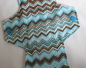 Turquoise And Brown Chevron Extra Coverage Mama Cloth (Reusable Cloth Menstrual Pad)