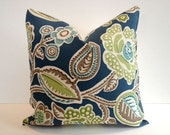 Designer Pillow Cover, Decorative, Throw. 16x16 inch- Pool Blue, Mocha, Lime Floral