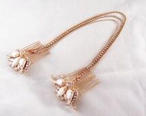 Bridal Headpiece, Rose gold hair comb, Rose gold headpiece, Bridal hair chain, Boho wedding halo, Chain headpiece, Wedding crown headpiece