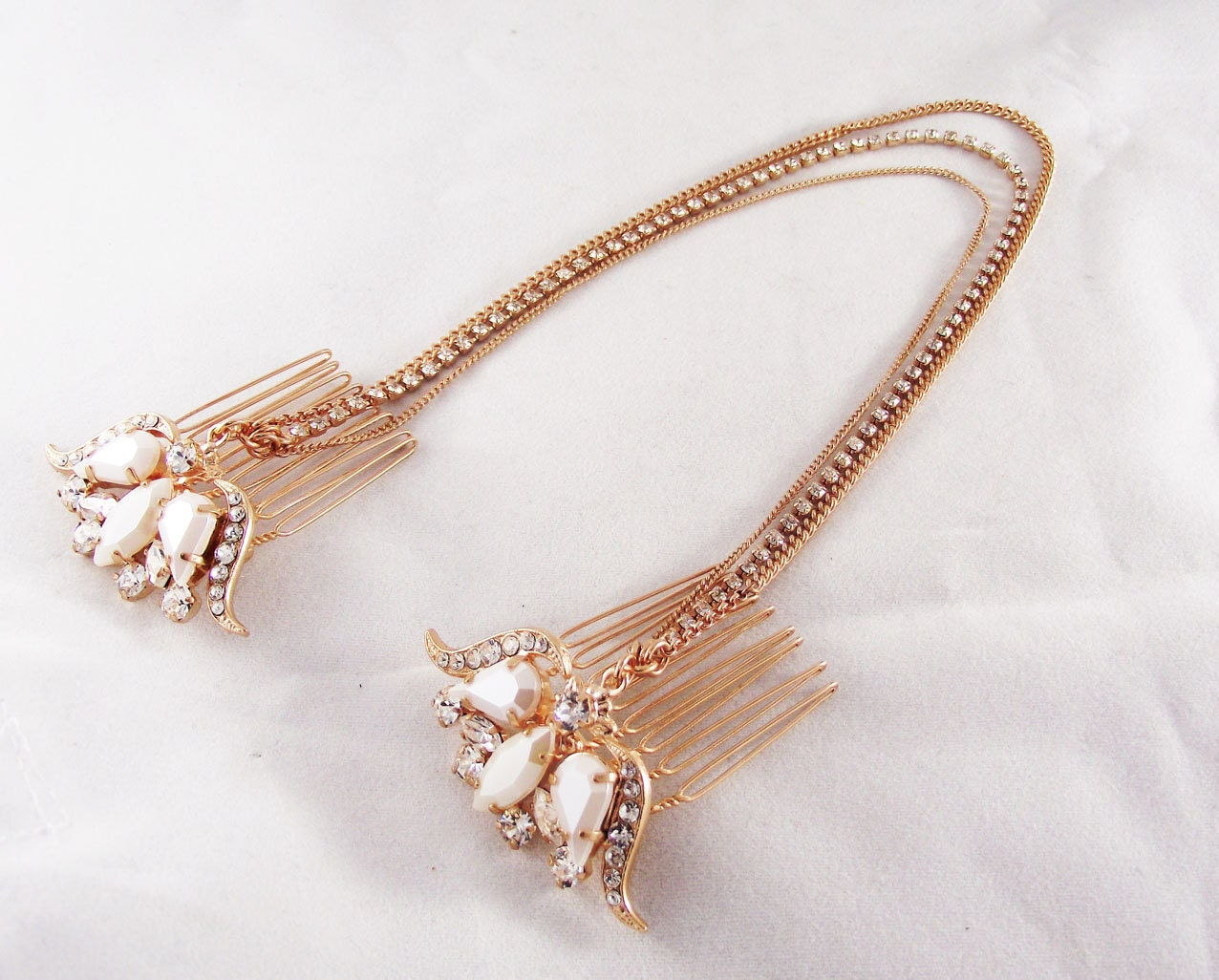 Rose gold wedding hair accessories -  Rose Gold Headpiece Bridal Hair Chain Zoom