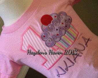 Girl's Birthday Shirt with A Cupcake