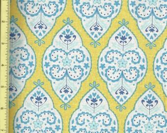 """Sunshine Medallion in Yellow Cotton Linen by Dena Fishbein 54"""" Decorator width - 1/2 yd"""