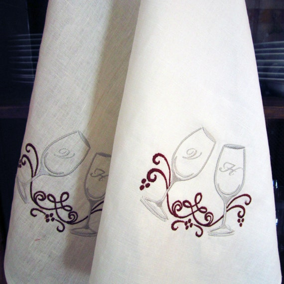 Set Of 2 Embroidered Personalized 100% Linen Tea Towels