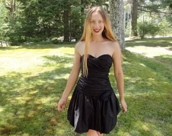 SALE Vintage Little Black Dress, Strapless Cocktail Dress, Black Party Dress, Short Bridesmaids Dress, Semi Formal, Quinceanera, size 9-10