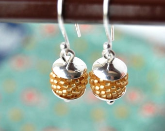 Sale / Small Sterling Silver Earrings - Gold