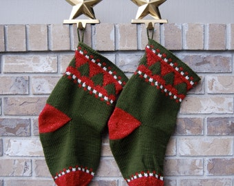 Olive green stocking - knit Christmas tree - 1 knitted Christmas stocking - hand knit green stocking