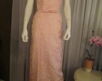 Late 1950's to 1960's No Label PINK SILK Formal