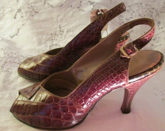 1950's Alligator Peep Toe Heels by The FRENCH ROOM Chandlers Shoes
