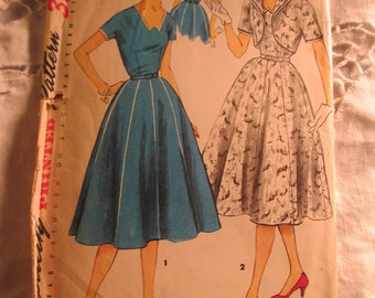 1955 SIMPLICITY Fashion PATTERN One Piece Dress and Jacket