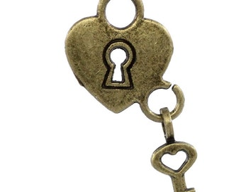 50 Heart Charms Locks with Keys - WHOLESALE -  Antique Bronze Charms - 26x14.5mm -  Ships IMMEDIATELY from California BC586a