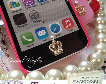 Custom Classic Luxury Cherry Bow Heart Sparkle Crystal Diamond Peel & Pop Up Sticker Home Button For iPhone Deaigner Inspired Bling Lovely