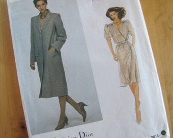 Uncut Vintage Vogue Sewing Pattern 2814 - Christian Dior - Misses Dress and Coat -  Size 12