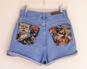 Mini Penny high waisted cat tapestry pocket shorts
