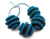 Beads handmade polymer clay turquoise & black set of 4