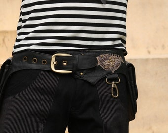 Men's leather pocket utility Belt