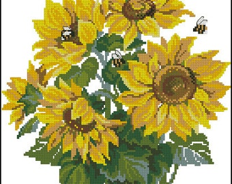 Instant Download Counted Cross Stitch Chart PDF Pattern N104ld - Sunflowers