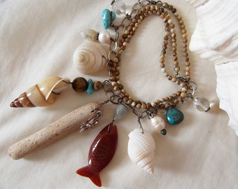 Sterling Silver, Carved Carnelian, Milky Aqua, Tiger Eye, Picture Jasper, Turquoise, Pearl & Shell Charm Necklace