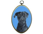 Custom Dog Portrait Art on Wood Oval
