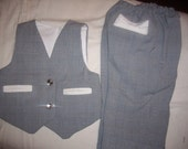 TMD: 2 pc baby boys pants and reversible vest customized 0 to 18mo