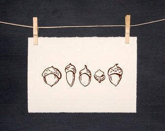 Acorn - LINOCUT - Hand Printed