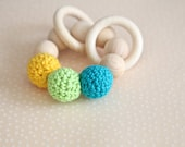 Teething toy with crochet yellow, green, blue wooden beads and 2 wooden rings. Wooden rattle. Gift for baby.