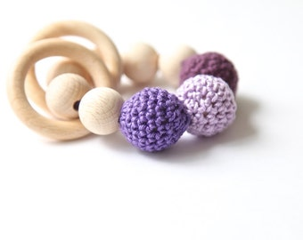 Teething toy with crochet lilac, violet, purple wooden beads and 2 wooden rings. Wooden rattle. Teething ring
