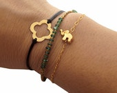 FOR JESSICA - Elephant Charm Bracelet- Gold Vermeil - Tiny Animal Jewelry - Good Luck, Gold Jewelry Dainty Everyday Bracelet
