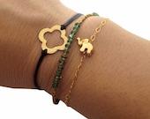 FOR JESSICA - Elephant Charm Bracelet- Gold Vermeil - Tiny Animal Jewelry - Good Luck, Gold Jewelry Dainty Everyday Bracelet