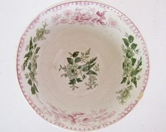 19th Century English Staffordshire Pink & Green Transferware Tea Bowl