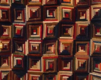 "19th Century American Victorian Velvet ""Log Cabin"" Quilt ON SALE Final Price"