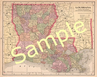 Printable Map of Louisiana, State Map Art, Instant Download, Digital Download, 1900s Color Map, Library Wall Art, Antique Map