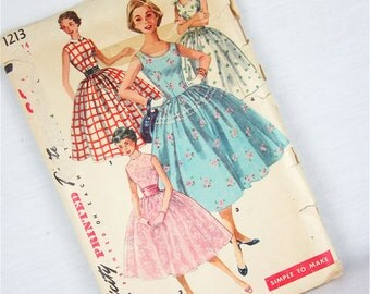 Vintage 50s Party Dress Sewing Pattern, Simplicity, 1213