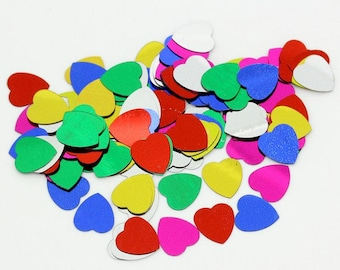 100 Heart confetti mixed color sequins Wedding Favors 10mm - 100 pieces (1345) - Flat rate shipping