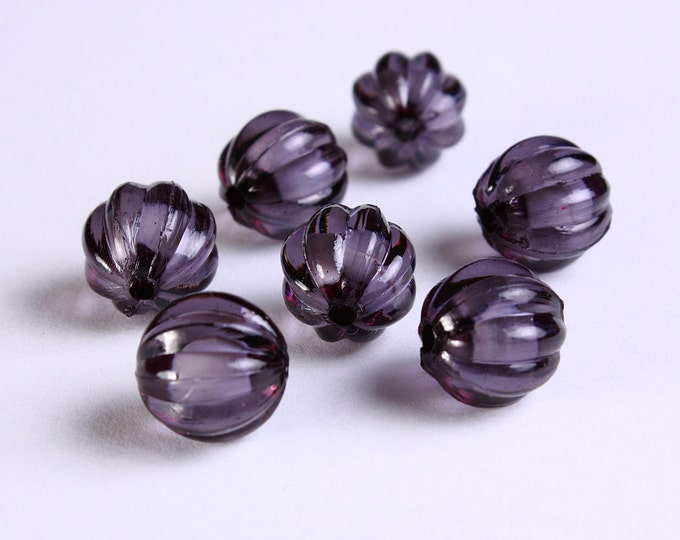 12mm Black acrylic round melon lucite bead - miracle bead (1117) - Flat rate shipping
