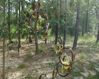 GLASS WINDCHIMES from RECYCLED bottles, eco friendly, brown yellow, garden decor, wind chimes, mobiles, musical, windchimes