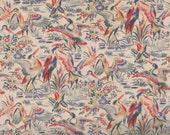 Floral Fabric, Birds, Ivory Fabric, Bird Fabric, Crane Fabric, Oriental Fabric, Timeless Treasures, Lotus ECRU, 01956