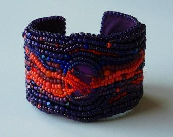 Gem Mine - A bead embroideed cuff