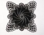 Black square crochet lace cotton doily / centerpiece