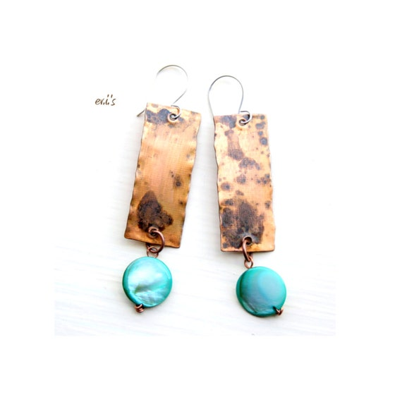 Green Turquoise Pearl Copper Rectangular Earrings Handcrafted Natural Oxidized Metalwork Dangle Drop Rustic Boho Hippie Ethnic Earrings