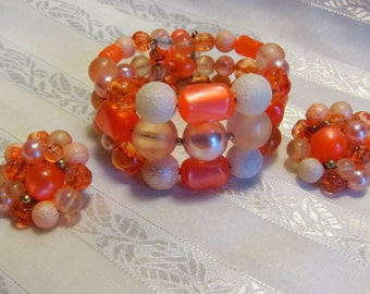 Vintage Orange Sherbert Lucite Memory Wire Bracelet and Matching Ear Clips