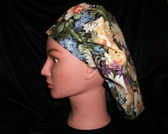 floral bouffant scrub hat