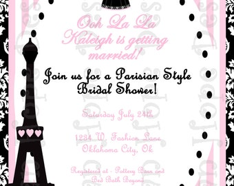 Paris Bridal Shower Invitation - Parisian Bridal Shower - PRINTABLE Invitation and Thank You Card