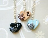 Best friend necklace, Two or three initial heart pendants with a little sloth, Pick your colors