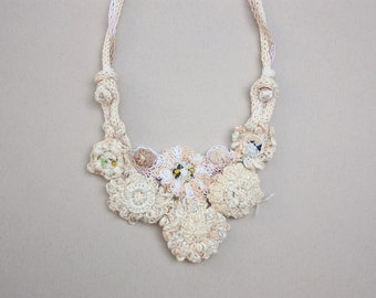 Cream bib necklace, statement crochet and knitted jewelry, OOAK