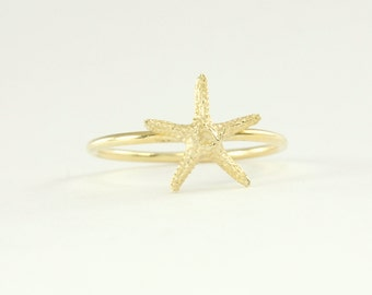 Starfish Ring in Solid 14K Gold Openwork Ring