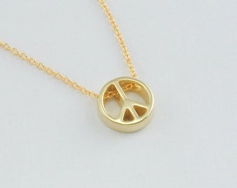 Peace Sign Pendant in Solid 14K Gold Openwork