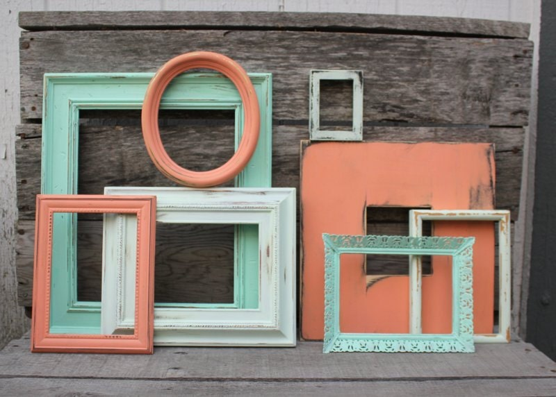 Set Of 8 Open Frame Gallery Picture Frame Collection Coral